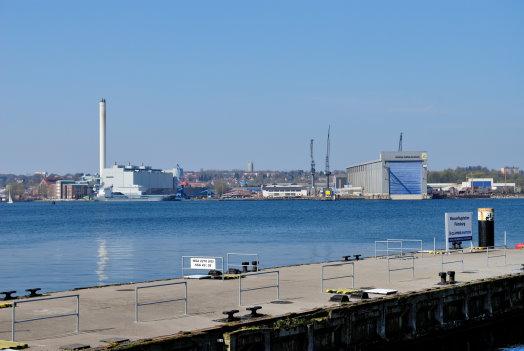 Blick zum Kraftwerk der Satdwerke und zur Flensburger Schiffbau Gesellschaft